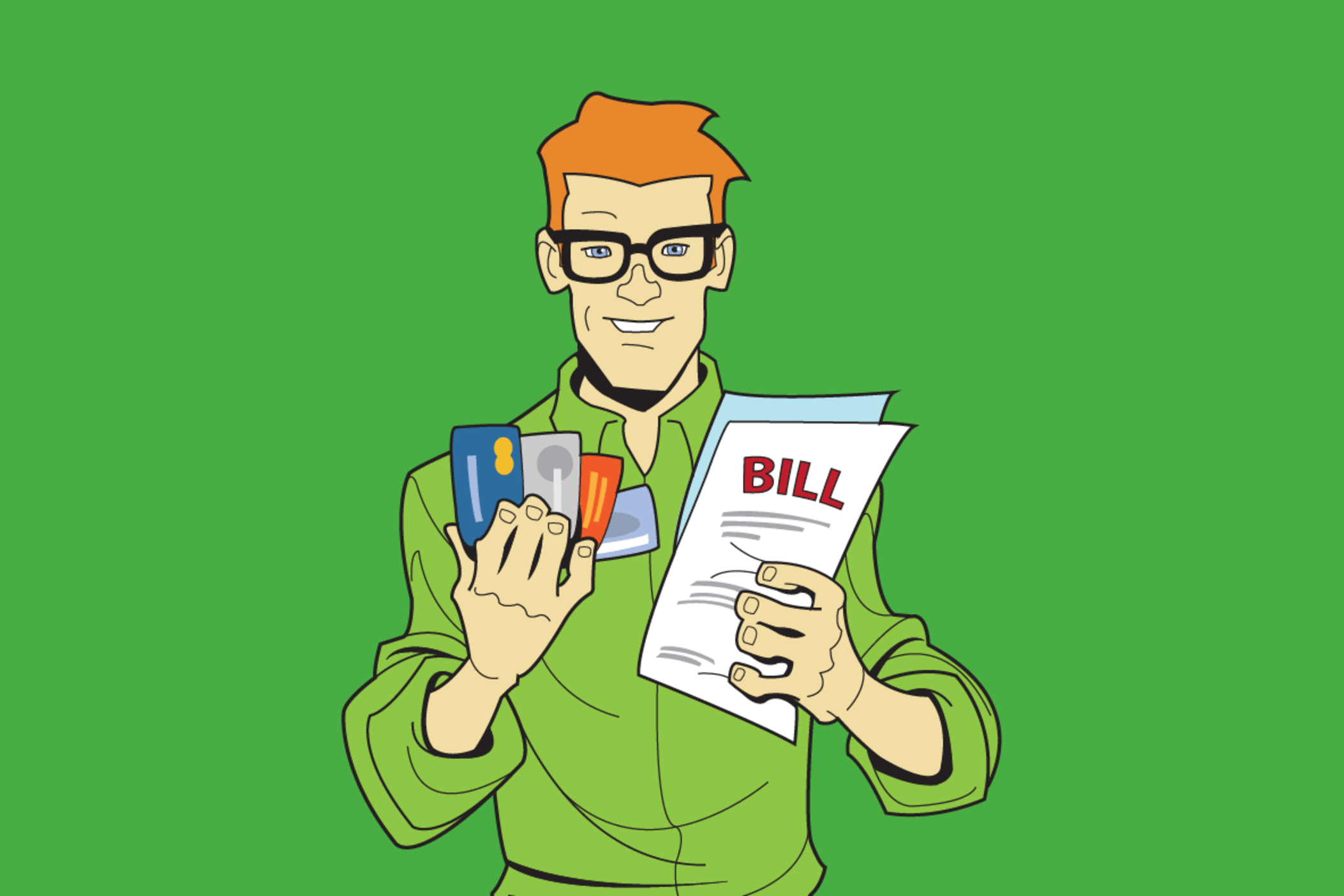 Consumer Ed with credit cards and bills